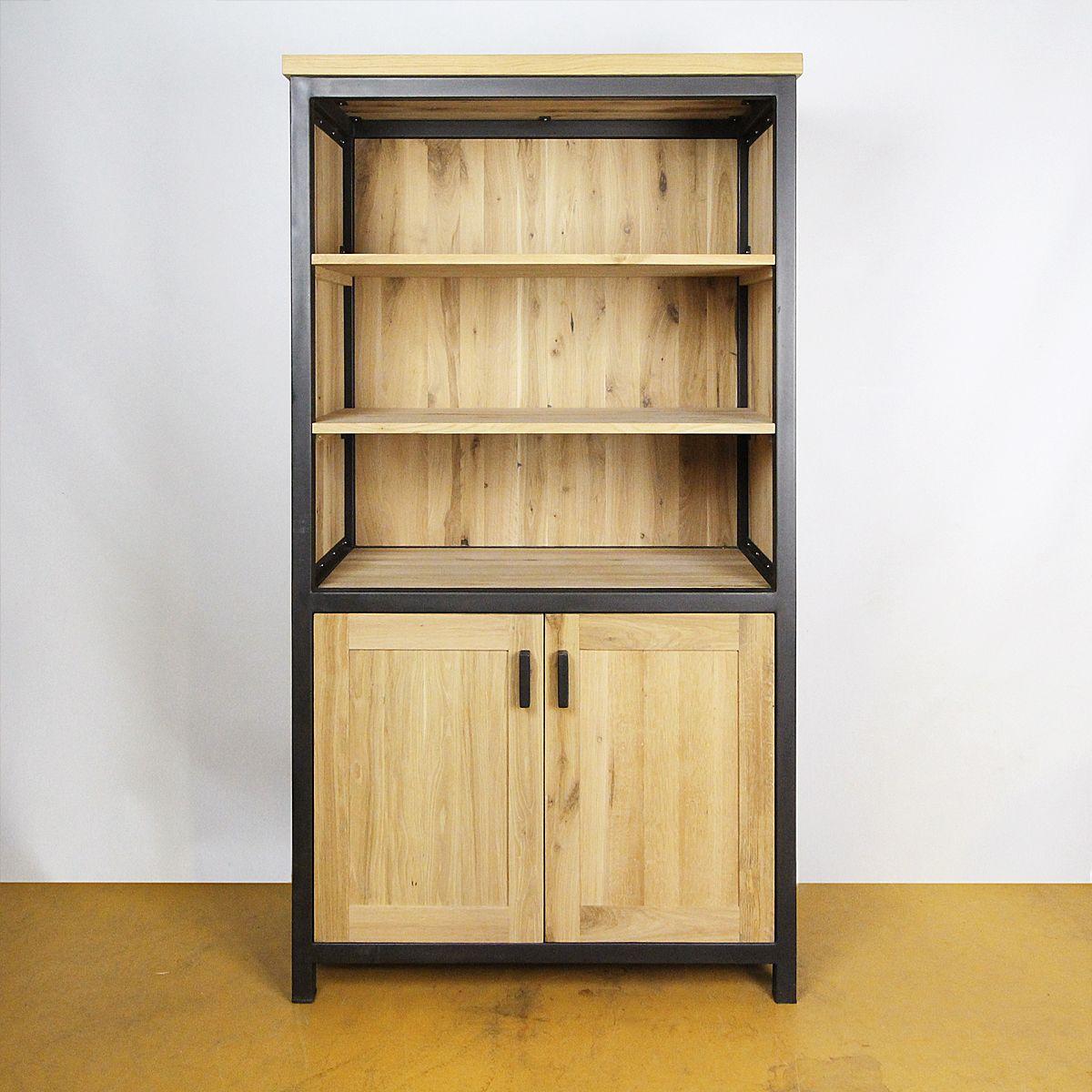 industrieel oud eiken boekenkast