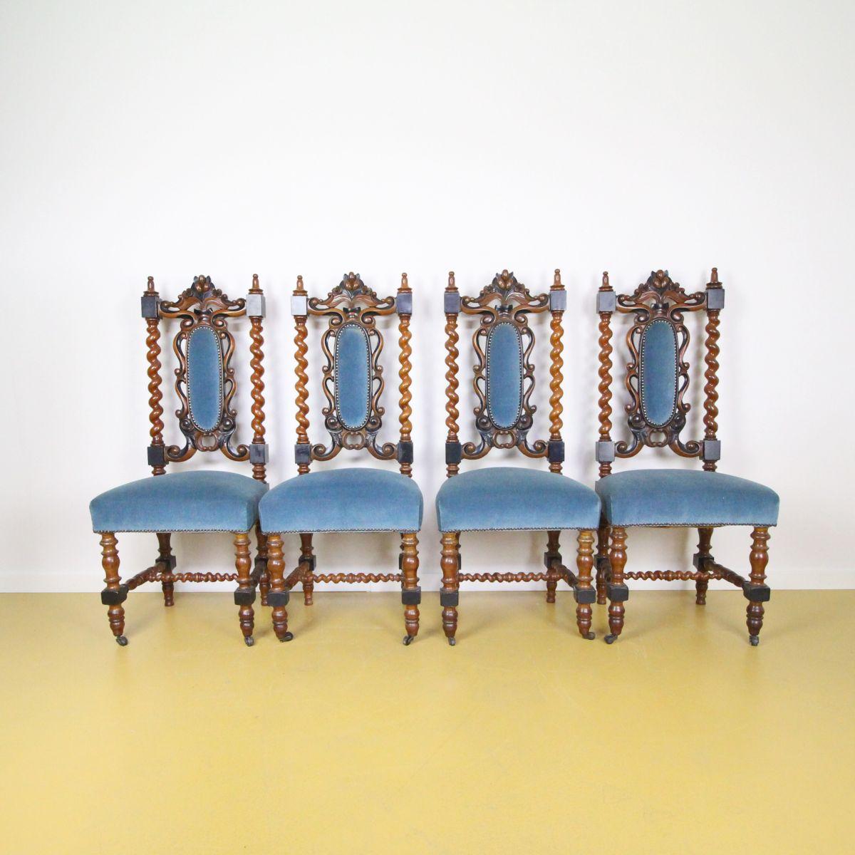 4 Willem III stoelen noten met zwart