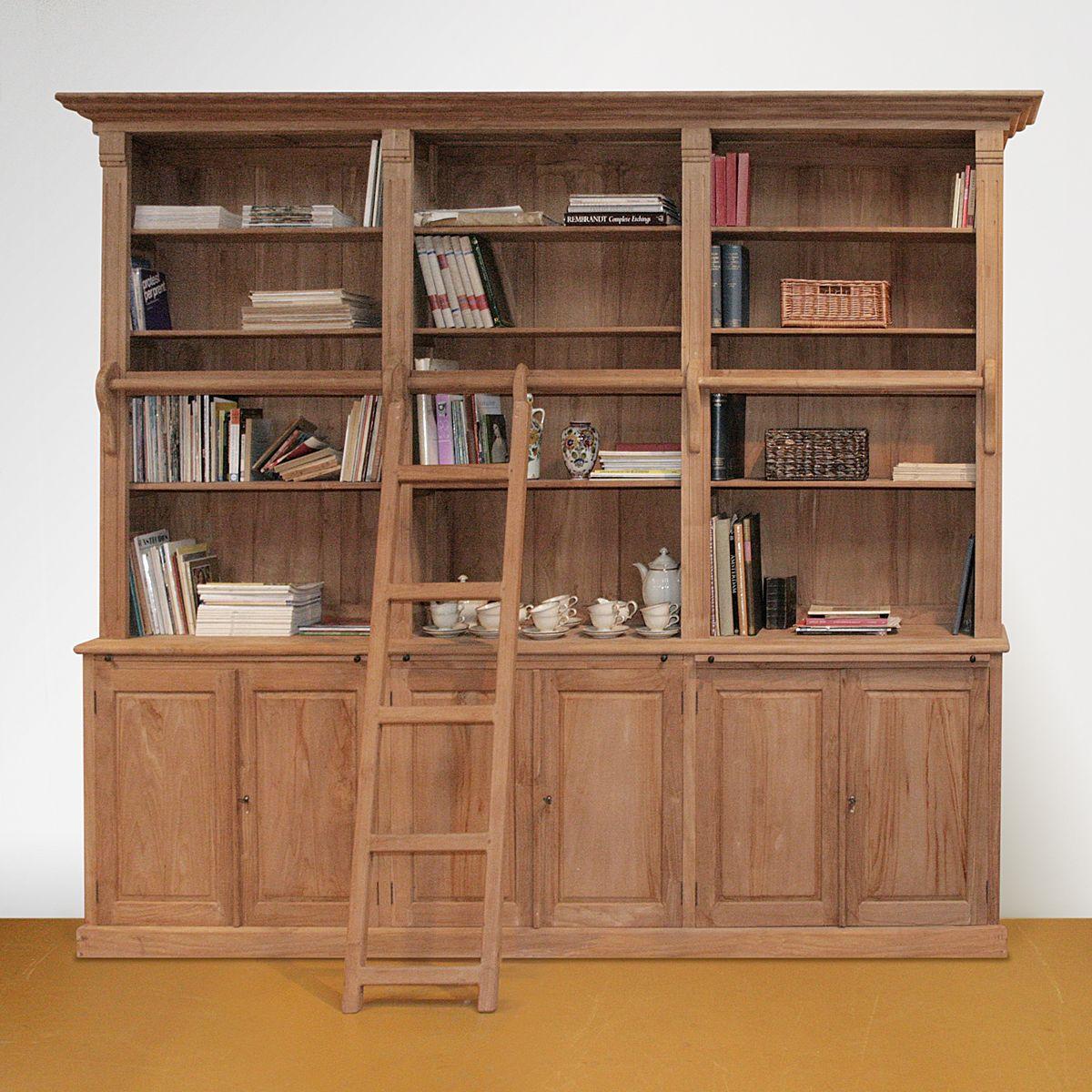 boekenkast op maat teakhout met trap