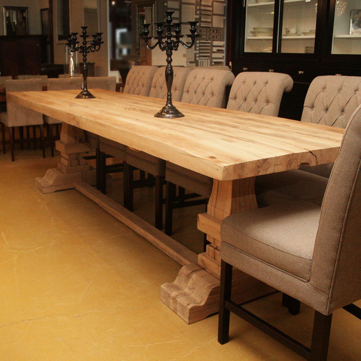 Kloostertafel origineel oud eiken met engelse kolommen gerard keune meubels op maat - Eettafel schans ...