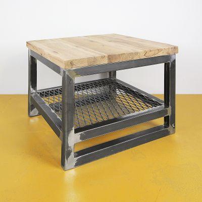 Salontafel oud eiken - staal