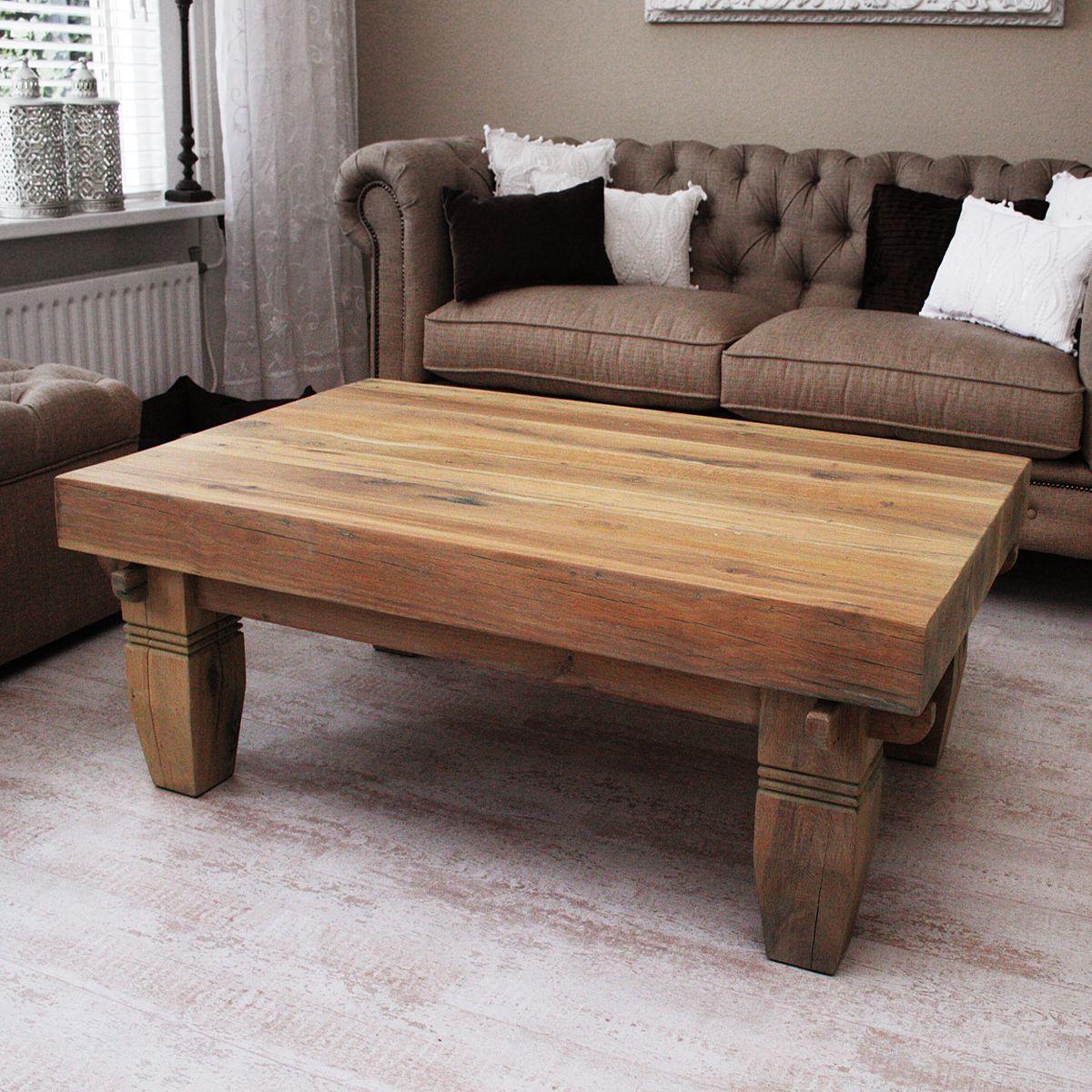 Oud eiken robuuste salontafel