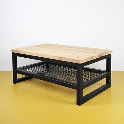 Oud eiken salontafel - staal