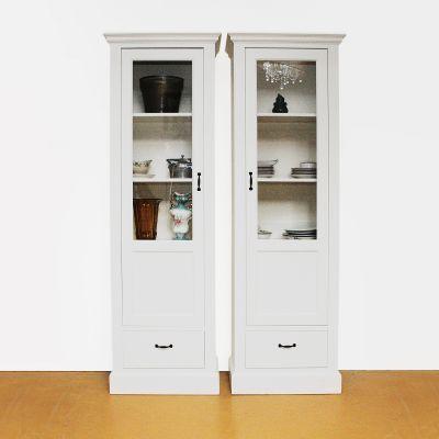 Vitrinekast met 1 deur en 1 lade